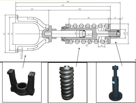 caterpillar E320 excavator track cylinder assembly